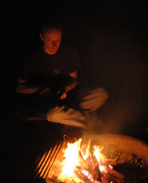 Peter and campfire