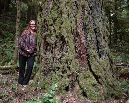 Teri in Old growth forest near Low Pass, Oregon